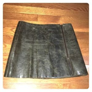 DKNY vintage leather mini zipper skirt